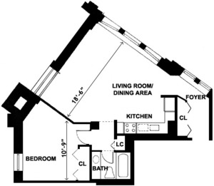 floorplan for 2 Cornelia Street #606
