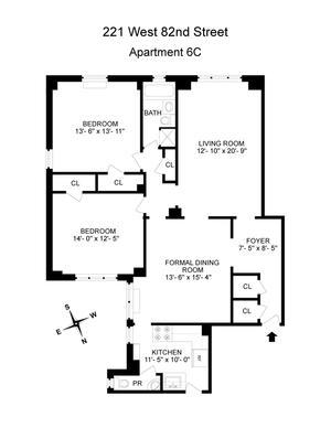 floorplan for 221 West 82nd Street #6C