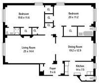 floorplan for 444 Central Park West #8H