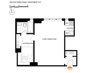 floorplan for 235 East 22nd Street #11R