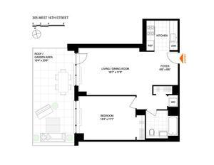 floorplan for 305 West 16th Street #2L