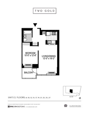 floorplan for 2 Gold Street #15E