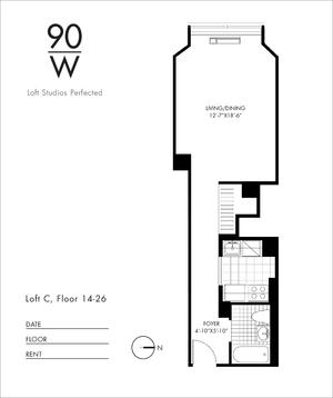 floorplan for 90 Washington Street #25C
