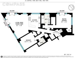 floorplan for 15 Central Park West #8G
