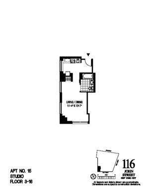 floorplan for 116 John Street #715