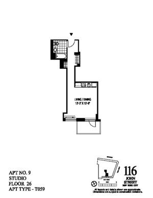 floorplan for 116 John Street #2609