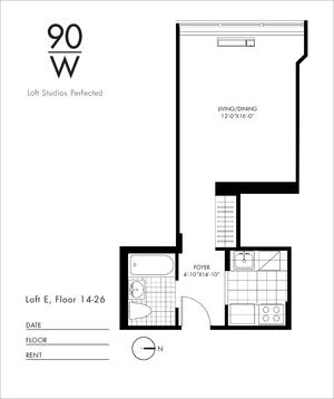 floorplan for 90 Washington Street #16E