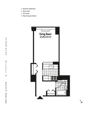 floorplan for 601 West 57th Street #29K
