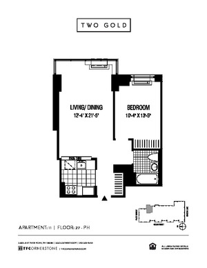 floorplan for 2 Gold Street #3411