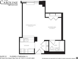 floorplan for 60 West 23rd Street #721