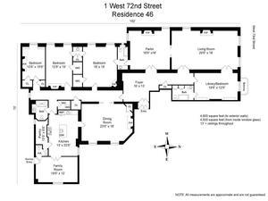 floorplan for 1 West 72nd Street #46