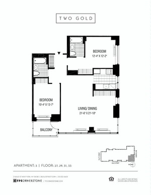 floorplan for 2 Gold Street #2703