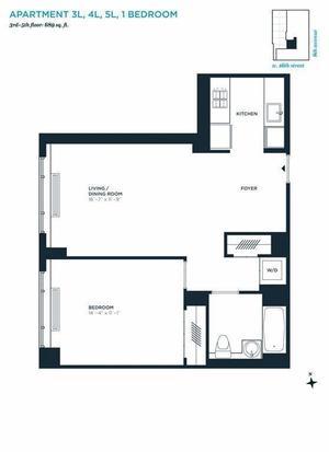 floorplan for 305 West 16th Street #4L