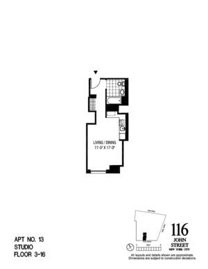 floorplan for 116 John Street #2113