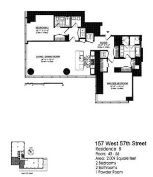 floorplan for 157 West 57th Street #45B