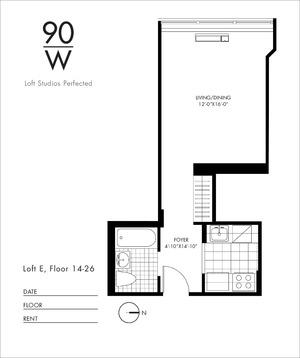 floorplan for 90 Washington Street #23E