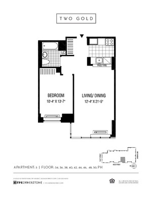 floorplan for 2 Gold Street #4005
