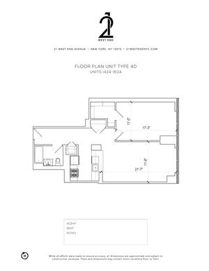 floorplan for 21 West End Avenue #1524