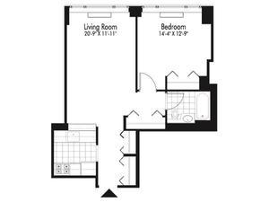 floorplan for 601 West 57th Street #22S
