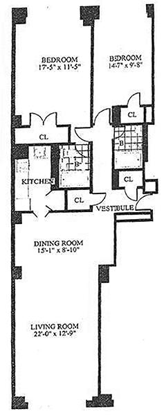 floorplan for 30 Park Avenue #6M