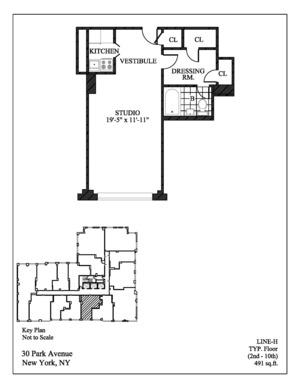 floorplan for 30 Park Avenue #10H