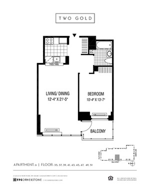 floorplan for 2 Gold Street #4106