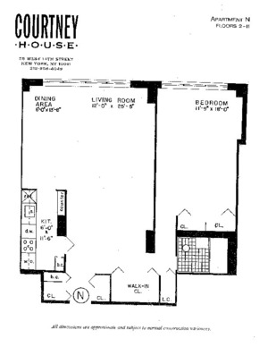 floorplan for 55 West 14th Street #5N