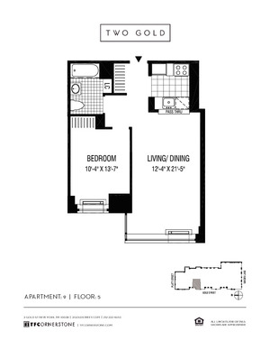 floorplan for 2 Gold Street #509