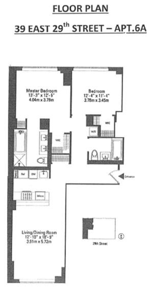 floorplan for 39 East 29th Street #6A