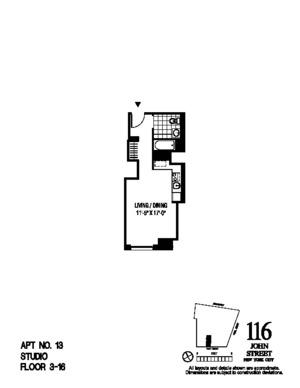 floorplan for 116 John Street #413