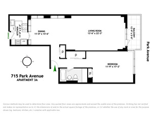 floorplan for 715 Park Avenue #3A