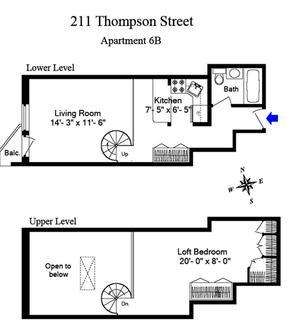floorplan for 211 Thompson Street #PHB