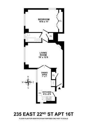 floorplan for 235 East 22nd Street #16T