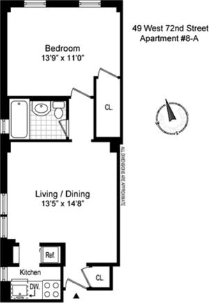 floorplan for 49 West 72nd Street #8A