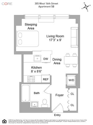 floorplan for 305 West 16th Street #5B