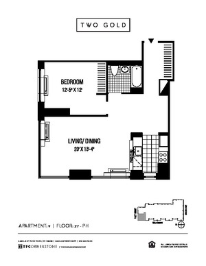 floorplan for 2 Gold Street #3009