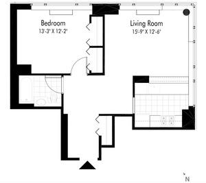 floorplan for 601 West 57th Street #26M