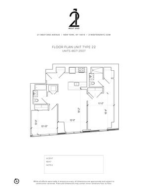 floorplan for 21 West End Avenue #1807