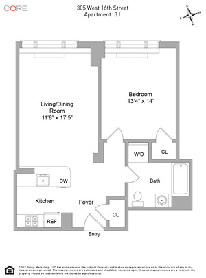 floorplan for 305 West 16th Street #3J