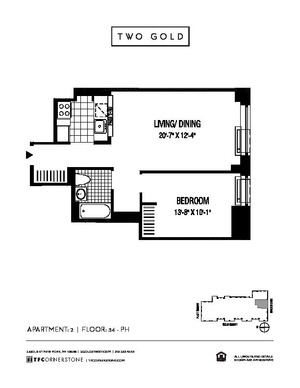 floorplan for 2 Gold Street #3702