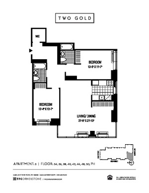 floorplan for 2 Gold Street #4403