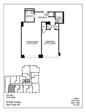 floorplan for 30 Park Avenue #14L